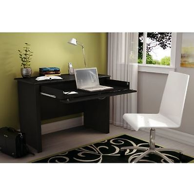 - College Dorm Bedroom Home Office Black Laptop Computer Desk Keyboard Tray Drawer