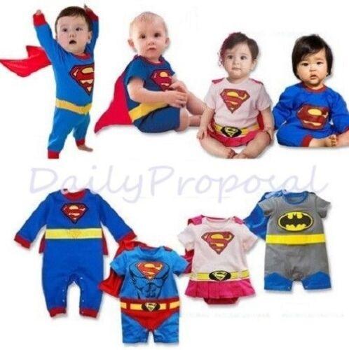 B4 Superhero Baby Toddler Boy Girl Halloween Costume w/Cape 6m-3T Supergirl USA