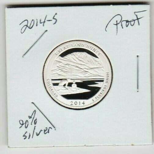 2014 S PROOF Great Sand Dunes 90 Silver ATB QUARTER LOW MINTAGE Father Son SL S - $8.17