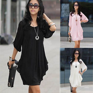 Womens-Fashion-Graceful-Chiffon-Casual-Short-Sleeve-Summer-Mini-Dress-E334