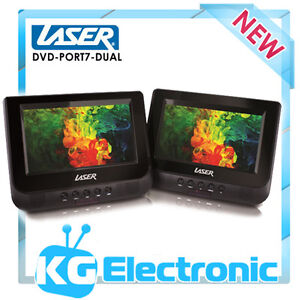 LASER DVD-PORT7-DUAL Portable DVD Player Dual In Car 7