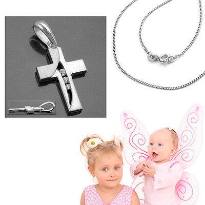 Mädchen Kommunion Konfirmation Zirkonia Kreuz Anhänger mit Kette Silber 925 Neu