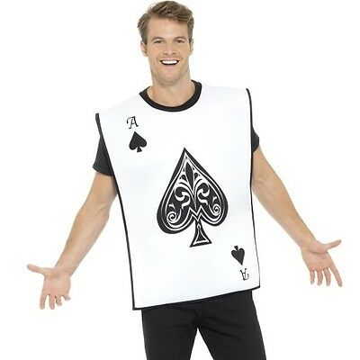 Mens Adult Playing Card Fancy Dress Costume Ace of Spades Reversible Outfit New - Ace Of Spades Halloween Costume