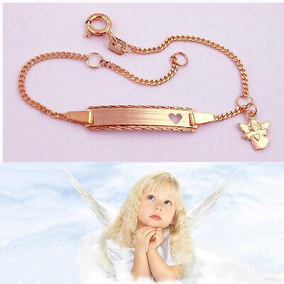 Baby Taufe Schutz Engel Herz Armband mit Gravur Name Datum Silber 925 Rosè Gold