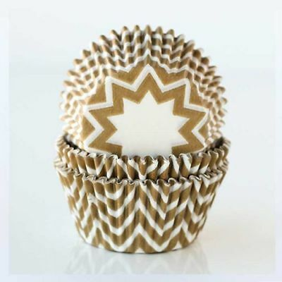 Gold Chevron Standard Cupcake Liners Baking Cups Grease Proof