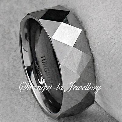 - COOL MENS TUNGSTEN CARBIDE DIAMOND CUT WEDDING RING BAND 8MM NEVER TARNISH JS022