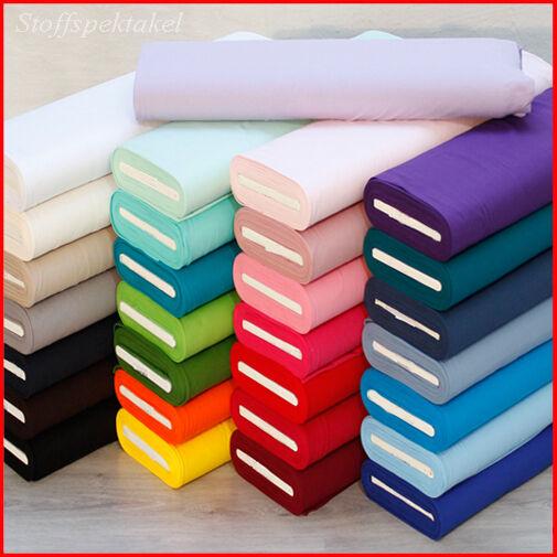 Jersey Baumwolljersey uni ÖKOTEX 7,90Meterware Stoff 20 Farben