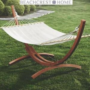 NEW GRISSOM FREE STANDING HAMMOCK 54883.00 245649642 BEACHCREST HOME TEAK WOOD WHITE