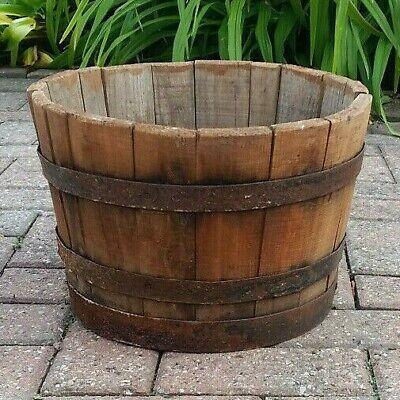 Reclaimed barrel flower planter tub - NEEDS TLC