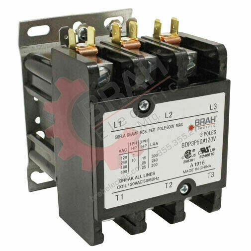 BDP3P50A240V, BRAH Electric, Elite Series contactor,bBDP, 3P, 3PH, 50A 240V Coil
