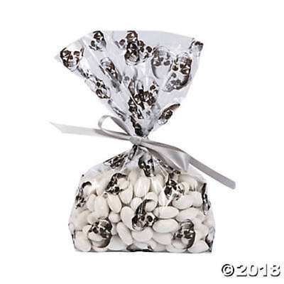 24 Birthday Party SKULL Favor GOODY LOOT Treat CELLO BAGS HALLOWEEN PIRATE - Halloween Goodie Bags