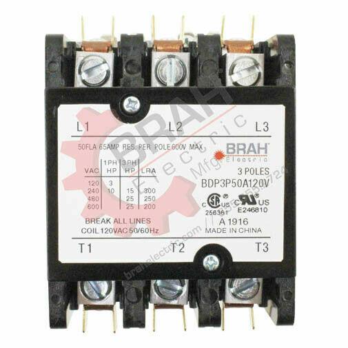 BDP3P50A120V, BRAH Electric aftermarket contactor  BDP, 3P, 3PH, 50A  120V Coil