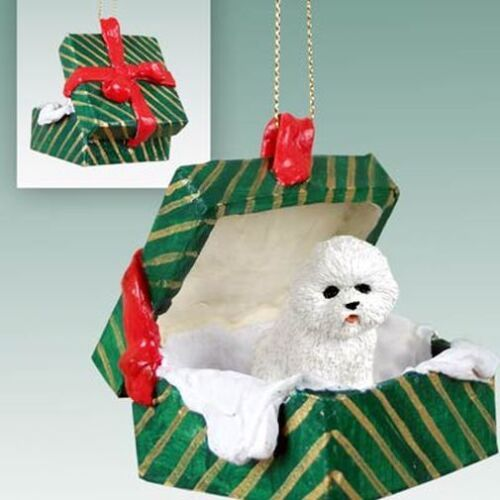 Bichon Frise Dog Green Gift Box Holiday Christmas ORNAMENT