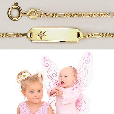 Baby Taufe Zirkonia Stern Armband Gold 333 8 Kt mit Gravur von Name und Datum
