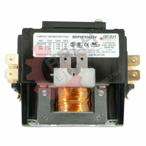 BDP2P30A120V, BRAH Electric aftermarket contactor BDP, 2P, 1PH, 30A 120V AC Coil