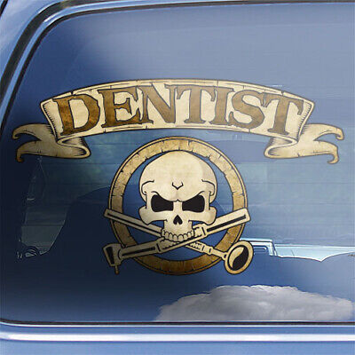Dentist crossbones decal, dentistry skull sticker, dental oral care badge decal