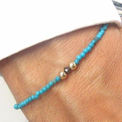 - Black diamond bead bracelet turquoise 14 k solid gold bangle string men women