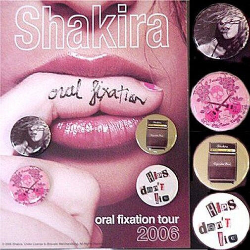 Shakira Oral Fixation Tour 2006 4 Button Pin Set New