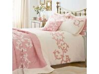 CLEMENTINE CORAL/WHITE SUPER KING DUVET COVER BY KALEIDSCOPE - TO CLEAR 0NLY £10 - OVER 10 IN STOCK