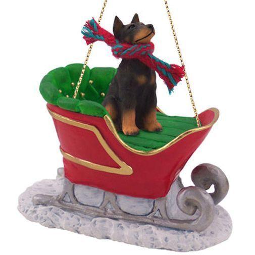 Doberman Pinscher Black Tan Dog SLEIGH Ride Christmas ORNAMENT