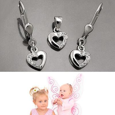 Mädchen Zirkonia Schmuckset Herz Anhänger mit Ohrringe und Kette Echt Silber 925