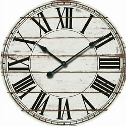 Home Decor Roman Numerals Oversized Rustic Large Round Wooden 24 Wall Clock