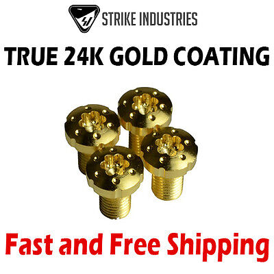 Strike Industries 1911 Torx Pistol Grip Screws - True 24K Gold-Plated (4 - Gold Coated Screws