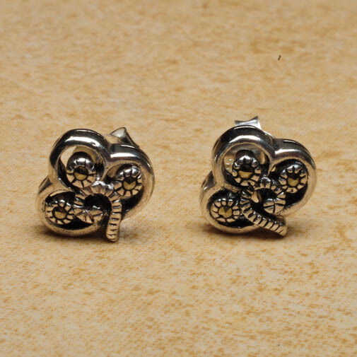 Celtic Sterling Silver Shamrock stud earrings with marcasite stones
