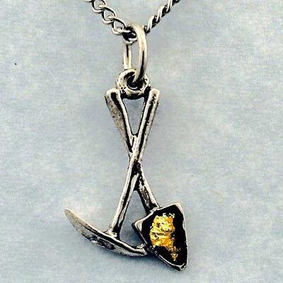 Pick & Shovel Necklace, Gold Flakes, Prospector Miner dredge sluice pan jewelry