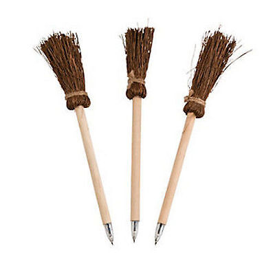 12 Witch Warlock Broom Wooden Pens HAUNTED HOUSE Halloween Party Coven Favor](Halloween Witches Coven)