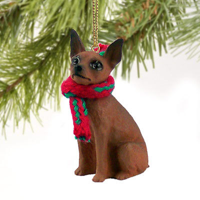 Miniature Pinscher Red Tan Dog Tiny One Miniature Christmas Holiday ORNAMENT
