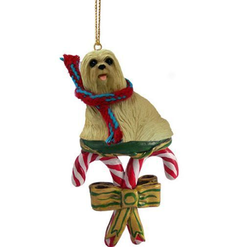 LHASA APSO Blonde Dog Candy Cane Christmas ORNAMENT