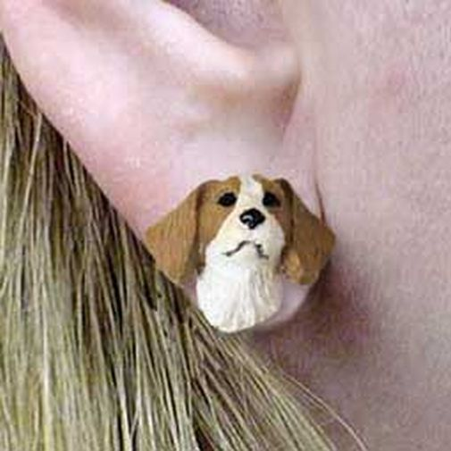 Brittany Brown White Tiny One Dog Head Post Earrings Jewelry