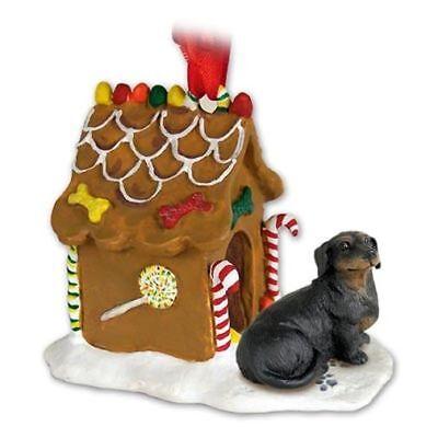 DACHSHUND Black Dog Ginger Bread Gingerbread House Christmas ORNAMENT Black Gingerbread Dog House Ornament