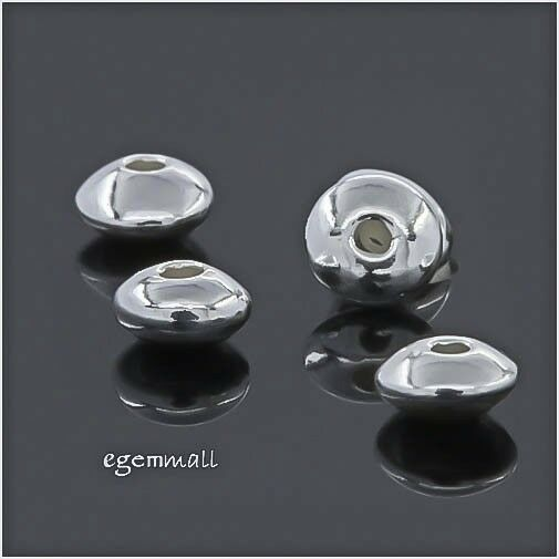 20 Sterling Silver Rondelle Saucer Spacer Beads 4mm #97895