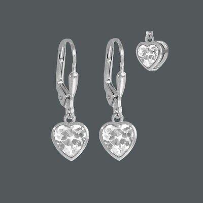Mädchen Ohrringe Herz weiße Zirkonia Kinder Brisur Ohrhänger Echt Silber 925