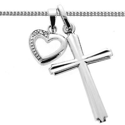Kinder Taufe Kommunion Kreuz Kette mit Zirkonia Herz Anhänger Echt Silber 925