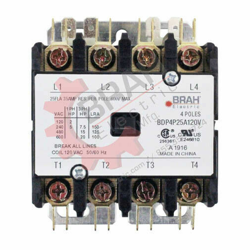 BDP4P20A120V, BRAH Electric, Elite Series contactor, type BDP, 4P, 3PH, 20A