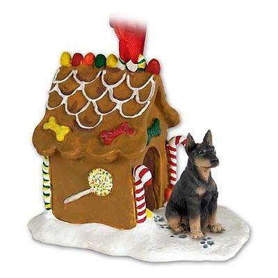 DOBERMAN Pinscher Black Tan Dog Gingerbread House Christmas Holiday ORNAMENT Black Gingerbread Dog House Ornament