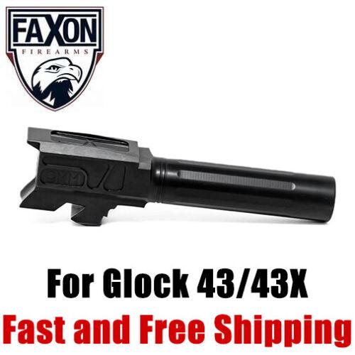 Faxon Match Grade Fluted Drop-In 9mm Barrel for Glock 43/43X - Black Nitride