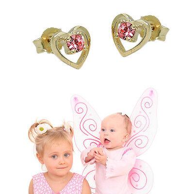 Mädchen Herz Ohrstecker mit rosa Steinchen Kinder Ohrringe aus Echt Gold 333