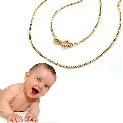 Baby und Kinder Hals Kette Echt Gold 333 8Kt Panzerkette Collier Länge 36 cm Neu