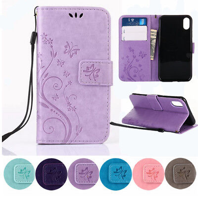 Wallet PU Leather Emboss Butterfly Flower Folio Magnetic Case Cover For iPhone (Butterfly Flower Cover)