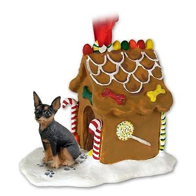 Miniature Pinscher Black Dog Ginger Bread Gingerbread House Christmas ORNAMENT Black Gingerbread Dog House Ornament