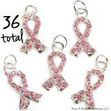 36 PINK RIBBON BREAST CANCER AWARENESS RHINESTONE CHARM