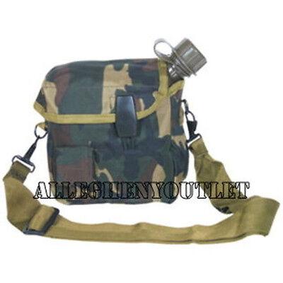 Military Type ENHANCED 2 QUART 2QT Woodland CANTEEN BLADDER COVER w STRAP NEW
