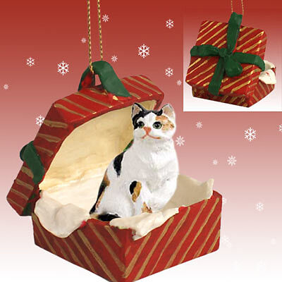 Calico Shorthair CAT RED Gift Box Holiday Christmas ORNAMENT