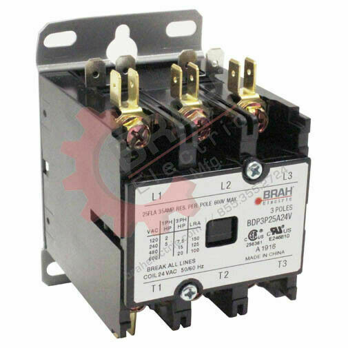 BDP3P20A277V, BRAH Electric contactor, type BDP, 3P, 3PH, 20A 277V AC coil