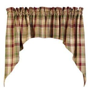 Burgundy Green Brandywine Plaid Curtain Window Valance