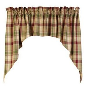 Rustic burlap window treatments - Green Brandywine Plaid Curtain Window Valance Swag Primitive Country